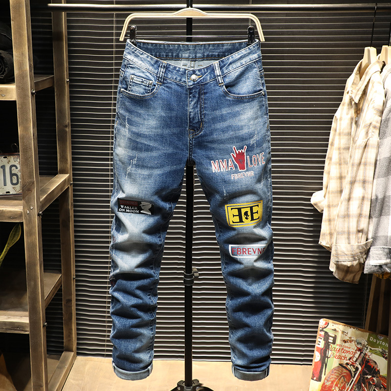 9860 Ins Jeans Men Feet Slim Fit Youth Pants Summer Style Printing Hot Drilling Leisure Male Pants