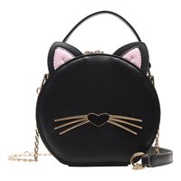 Fashion PU Leather Women Bag Cat Small Round Bag Chain Female Shoulder Messenger Bag Wrist Bag Party Clutch Coin Purse