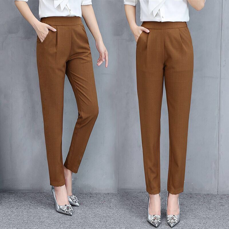 Spring Summer Women's Pants Fashion Thin Ankle-length High Waist Trousers Flexible Pencil Pants Solid Color Pants