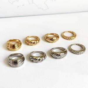 Złoty kolor srebrny skręcone rogaliki pierścienie nici geometryczne pierścienie dla kobiet minimalistyczny Chunky pierścionki biżuteria w stylu Vintage prezent