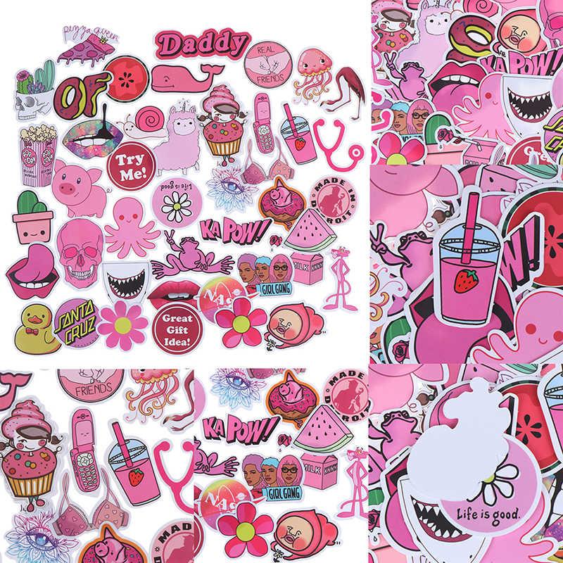 50 sztuk wodoodporny pvc dziewczyny Kawaii różowy zabawna naklejka zabawki naklejki bagażowe na pojazd silnikowy i walizka moda naklejki na laptopa naklejki