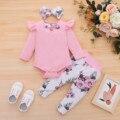 Комплект одежды для новорожденных девочек, комбинезон с бантом и штаны, повязка на голову, с цветочным принтом, одежда для маленьких девочек