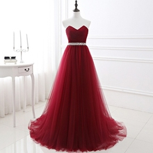 Burgundy Simple Bridesmaid Dresses A-Line Beading Sashes Sweetheart Neck Wedding Party Guest Maid of Honor Prom Gowns Sleeveless