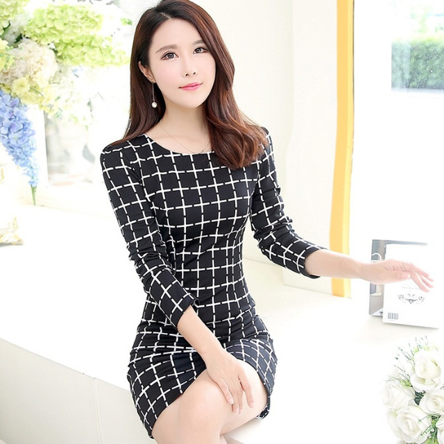 2020 Long Sleeve Plaid Casual Winter Autumn For Women O-Neck Black White Woman Party Night Mini Dress Plus Size Vestidos Dresses 4