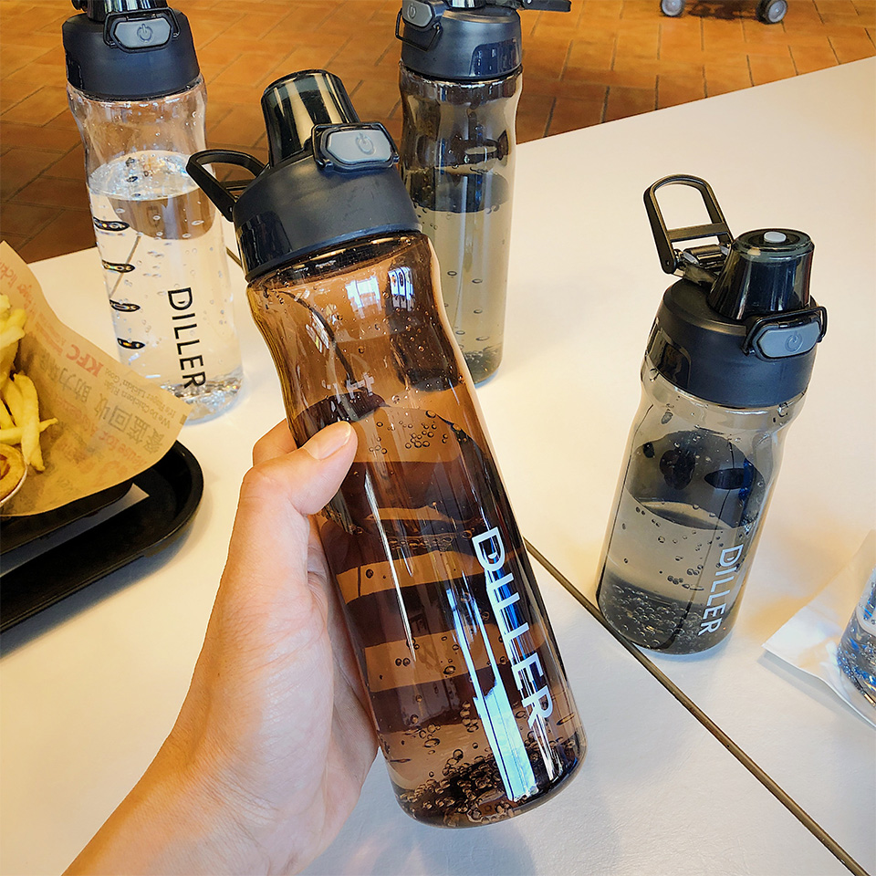 Hbc26004e3ef04593bccce44c285ab033q DILLER Water Bottle Popular Gray Men Outdoor Sport Travel My Drink Bottle Portable Leakproof Plastic Milk fruit gym Bottles