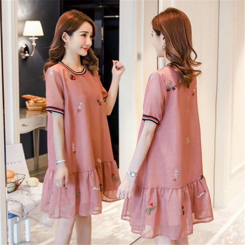 Pregnant Women Dress 2019 Summer Korean-style New Style Pleated Skirt Pendulum Embroidered Gauze Pregnant Women Dress Slimming