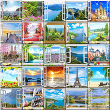 Window Landscape Paint By Numbers Set Oil Painting For Adult Diy Kits Canvas Frame Picture Drawing Coloring By Numbers Decor Art image