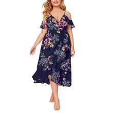 38# Women's Dress Women Sexy Fashion Large Size Summer V-neck Floral Print Boho Sleeveless Banquet Long Dress