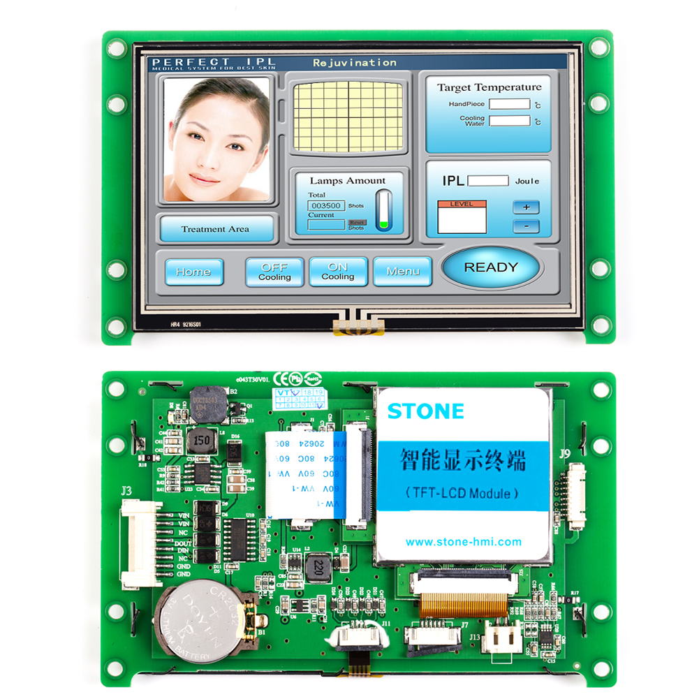 4.3 Inch UART HMI Smart LCD Embedded Touch Display Module Support Interface RS232/RS485/TTL for Euqipment Use