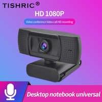 TISHRIC-cámara Web de ordenador con micrófono, USB, 1080P, HD, Webcam de ordenador, vídeo Full HD, ashu