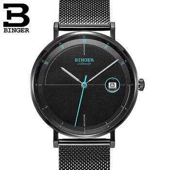 สวิตเซอร์แลนด์นาฬิกาผู้ชาย BINGER Luxury ยี่ห้อ Japan Movement นาฬิกาผู้ชายอัตโนมัติ Mechanical Sapphire อัตโนมัติวันที่