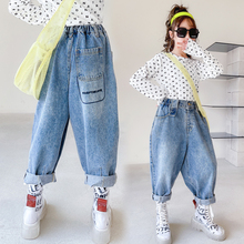 Girls Jeans Pants Clothing Embroidery Elastic-Waist Loose Kids Children's Denim 5-To-14-Years-Girls