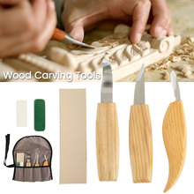 6pcs/set Wood Carving Set Knife Sharp-edged Wood Gouge Chisels DIY Cutter Woodworking Carving Tools