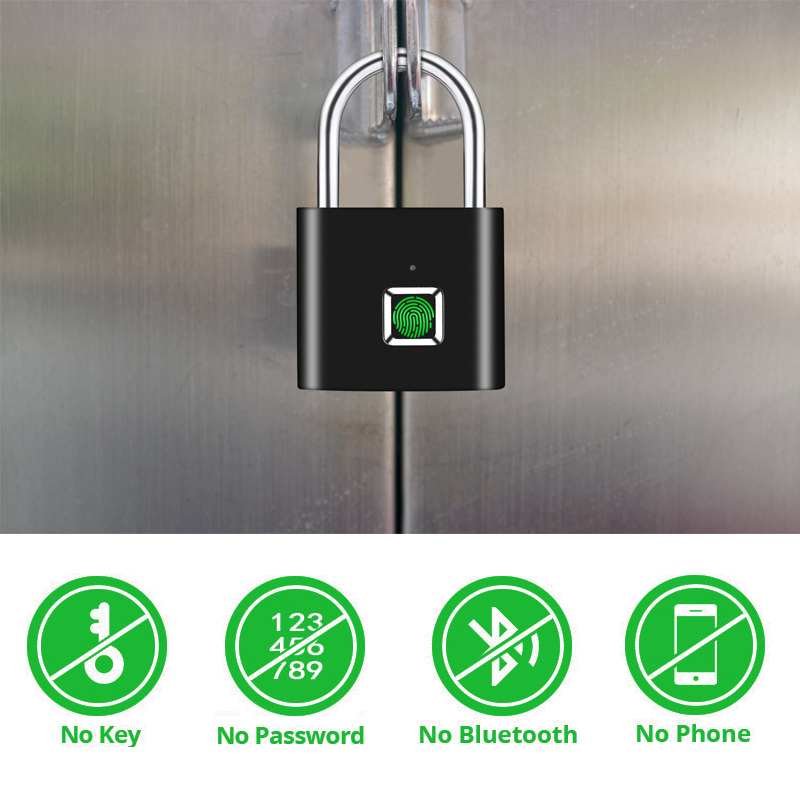 Image 4 - Thumbprint Door Padlocks Rechargeable Door Lock Fingerprint Smart Padlock Quick Unlock Keyless USB-in Electric Lock from Security & Protection