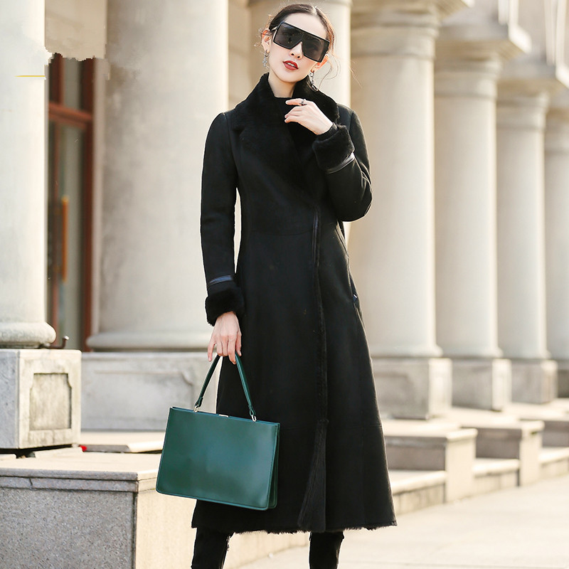 Fur Faced Double Coat Female Luxury Sheep Shearling Fur Winter Jacket Women Genuine Leather Jacket Korean Long Coats MY S