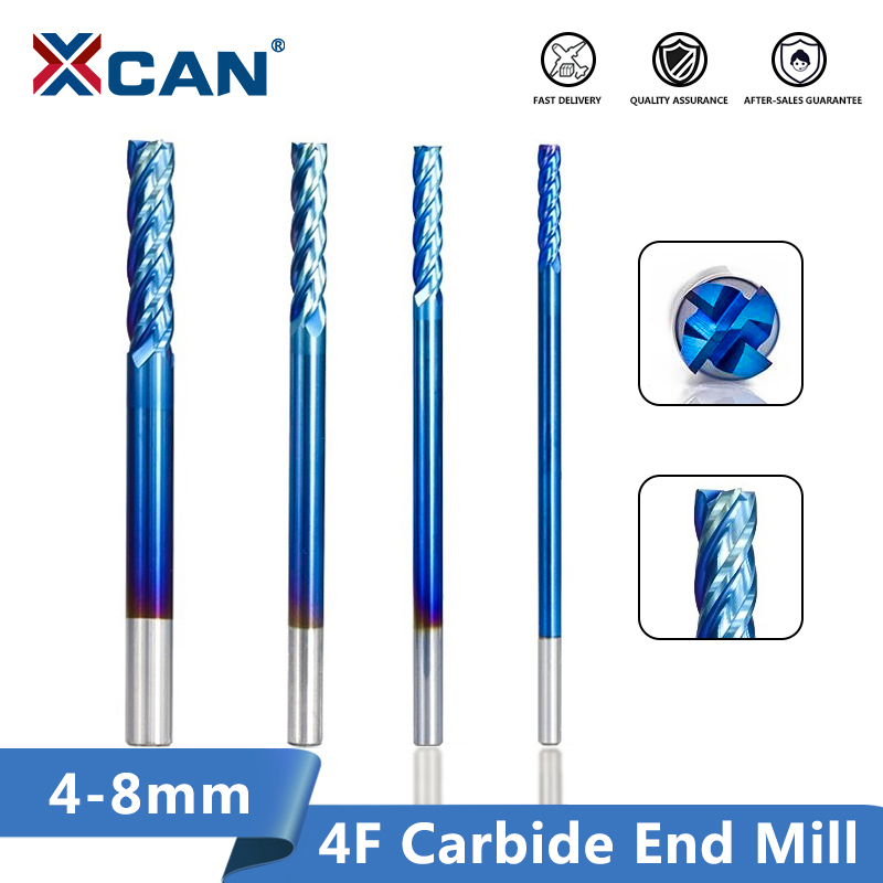 XCAN 4 Flute Tungsten Carbide End Mill 4/5/6/8mm Spiral Router Bit CNC Engraving Tool Long 100mm CNC Milling Bit End Mill Cutter
