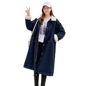 Image 5 - Cảnh bắn hạ Áo khoác mùa đông năm mới bông dài Áo đệm cotton nữ sinh viên dài hơn   Đầu gối con cừu cái áo khoác len