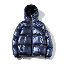 Cotton quilt bright winter wear men's hooded cotton coat plus fat large size S-5XL men's fashion simple solid color cotton coat