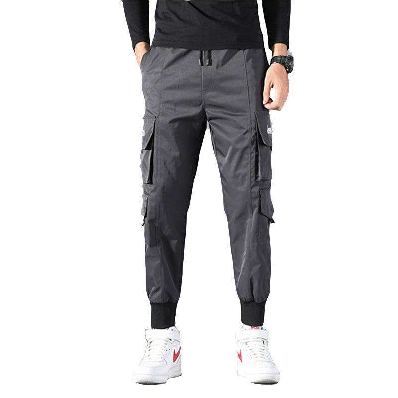 New Men outdoor casual tactical pants urban tooling multi-pocket drawstring strap elastic waist leg work multipurpose trousers