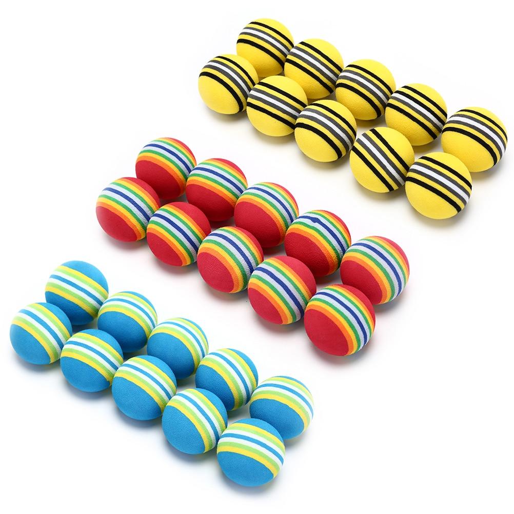 10pcs/bag EVA Foam Golf Balls Hot New Yellow/Red/Blue Rainbow Sponge Indoor Golf Practice Ball Training Aid 1