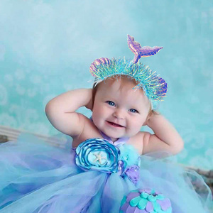 Little Mermaid Party Crown Headband Mermaid Tail Hat Photo Props for Baby Shower Girl 1st Birthday Party Favor Hair Accessories