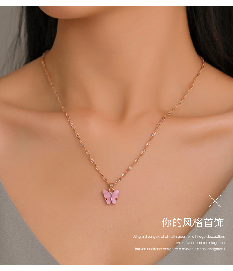 Simple Mini Butterfly Pendant Necklaces Candy Color Butterfly Necklace Statement Vintage Neckless Clavicular Chain Women Jewelry(China)