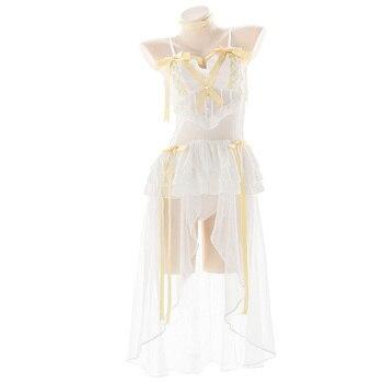 Pure White Angel Suspender Dress Lovely Bow Ribbon Cake Perspective Long Dress Sweet Sexy Lolita Girl Bandage Kawaii Costume