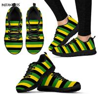 INSTANTARTS Jamaican Flag Stripes Pattern Woman Man Running Shoes Breathable Lightweight Sneakers Outdoor Sports Athletic Shoes