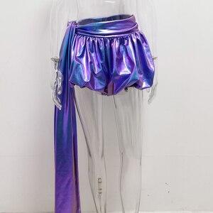 Image 2 - JillPeri Sexy Sparkle Lantaarn Shorts met Lange Drop Fashion Kleurrijke Ultra Korte Nacht Club Wear Celebrity Party Bodems Shorts