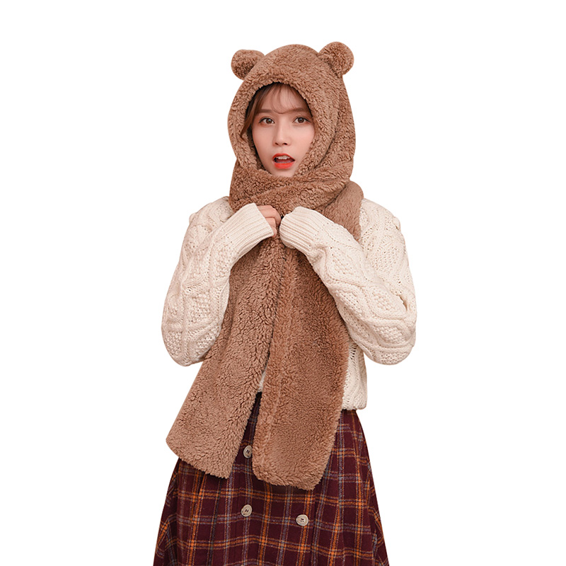 2/set Cute Animal Hooded Scarf Winter Faux Fur Scarf For Women Warm Thick Plush Women's Shawl Skull Mask Solid Cartoon Bear Cap