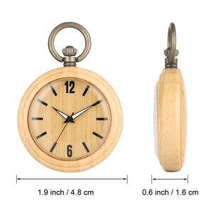 Image 2 - Minimalist Retro Bamboo Wood Quartz Pocket Watch Arabic Numerals Round Dial Stylish Full Wooden Exquisite Pendant Necklace Clock