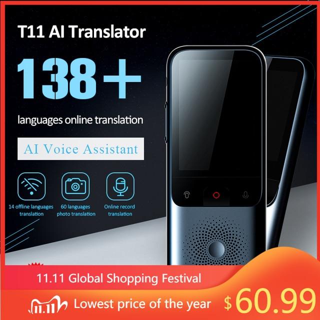 Traductor de voz inteligente portátil T11, 138 idiomas, Multi lenguaje, traductor interactivo fuera de línea, viajes de negocios