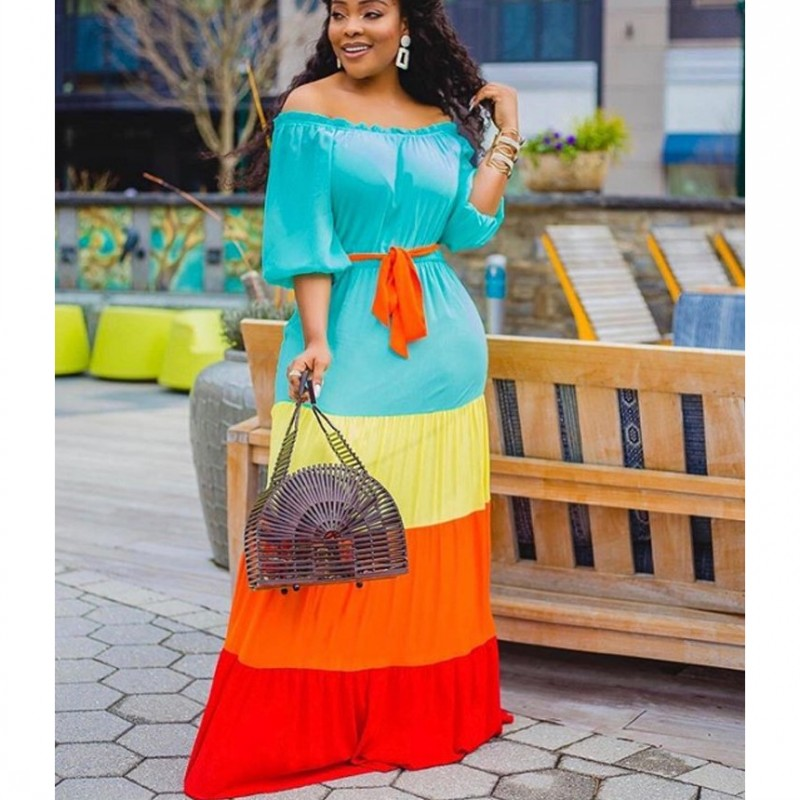 African Dresses For Women 3/4 Sleeve Dashiki Robe 2020 Summer Plus Size Dress Ladies Traditional African Clothing Fairy Dreams