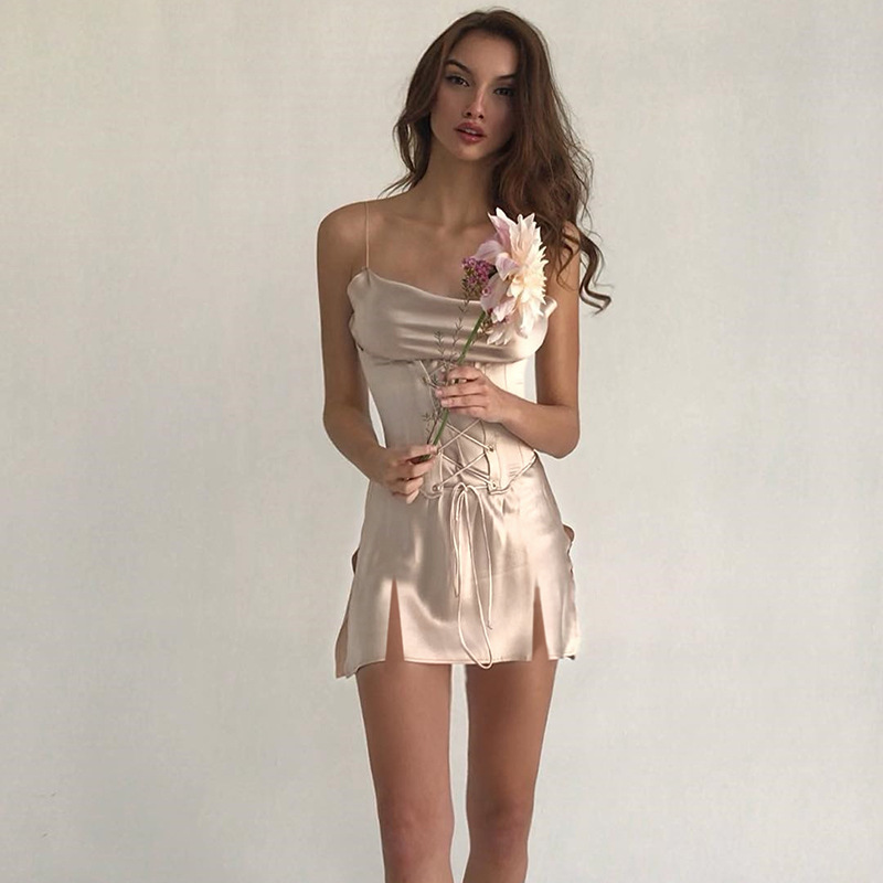WannaThis Sexy Bandage Split Party Dress Women Satin Silk Bodycon Basic Laceup Slim Fashion Club Ladies Spaghetti Strap Dresses