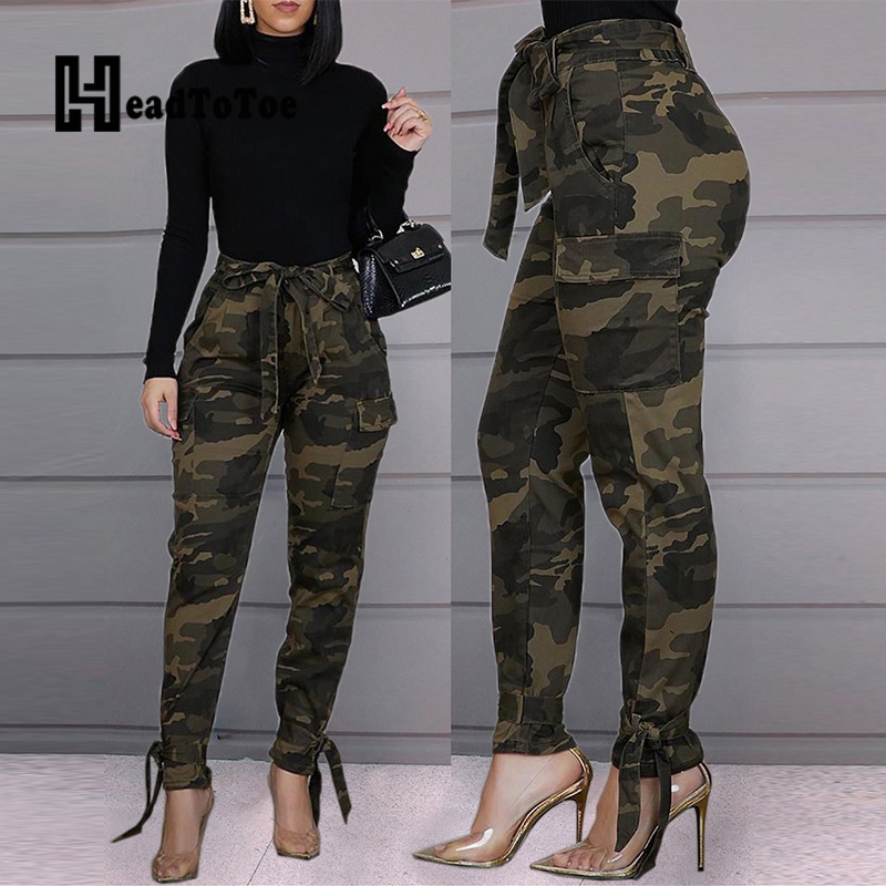 Pantalones largos de tubo con diseño de bolsillos y cordón para mujer de camuflaje de cintura alta atada Moda mujer Casual Sexy pecho Top corto con apertura sólido Sexy mujeres Tops sin mangas ajustados camiseta