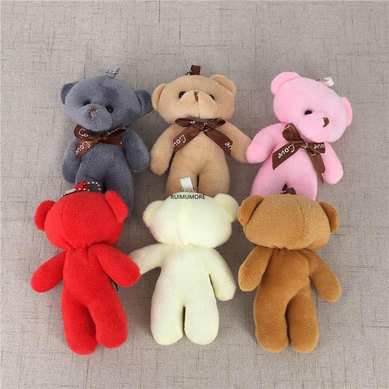6 צבעים, דוב ממולא צעצוע בובת, 9CM ממולא בפלאש צעצוע בובת עם keyring