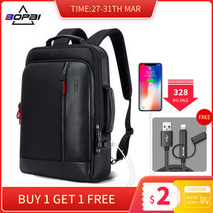 Мужской водонепроницаемый рюкзак BOPAI с защитой от кражи, рюкзак для ноутбука 15,6 дюйма с USB внешней зарядкой, школьный рюкзак для подростков
