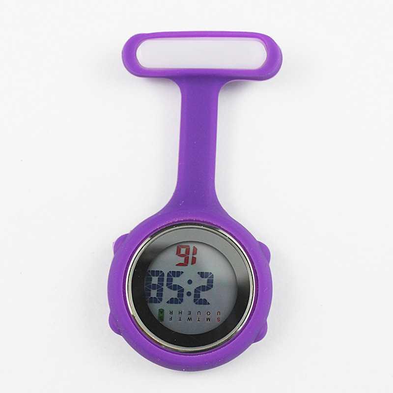 Часы для медсестры карманные часы силиконовые электронные светящиеся календарь желе часы модный тренд - Цвет: Фиолетовый