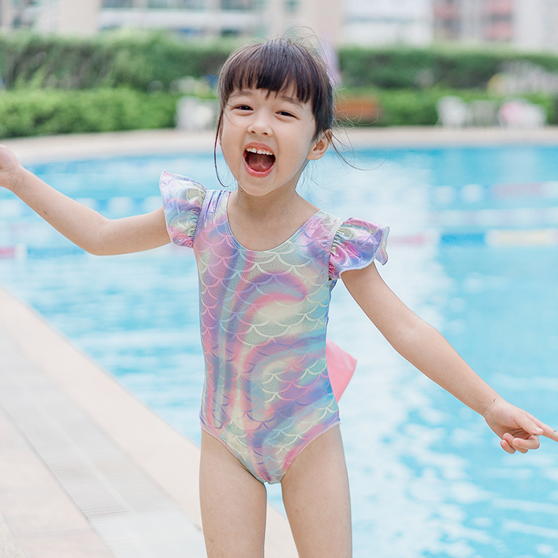 INS Europe And America KID'S Swimwear Women's Symphony Back Bow One-piece Mermaid Swimsuit Send Swim Cap