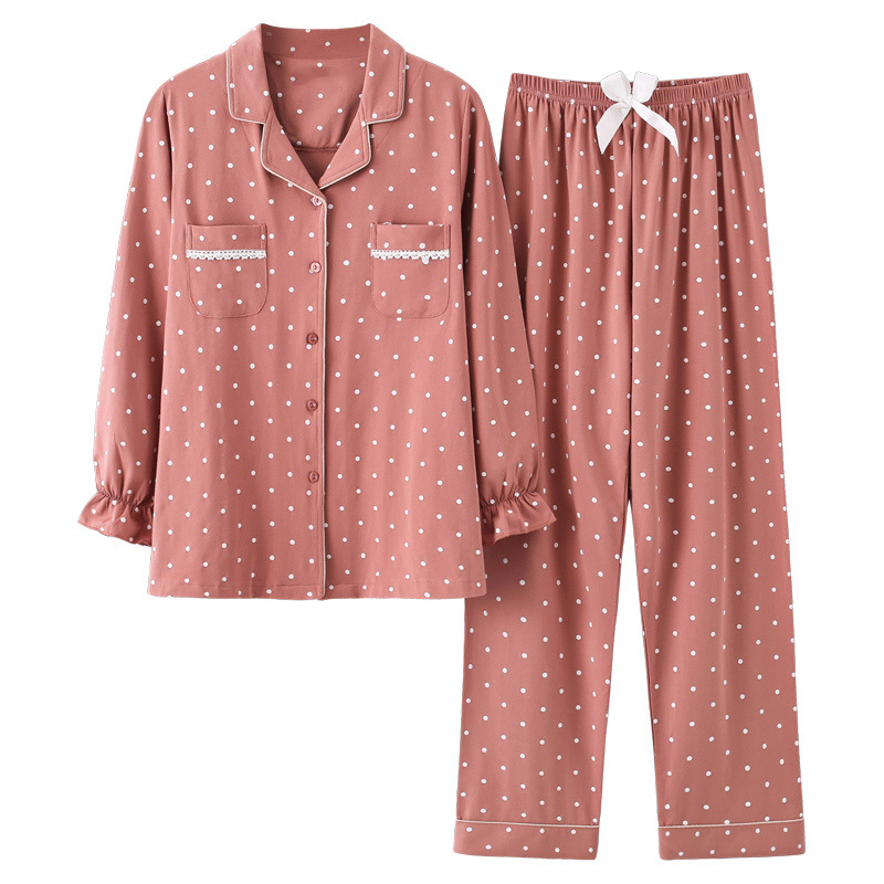 Autumn Women Sleepwear Long Sleeve Pajama Set Loose Casual Home Wear Pijama Plus Size Korean Pyjama Femme Cotton Dropshipping