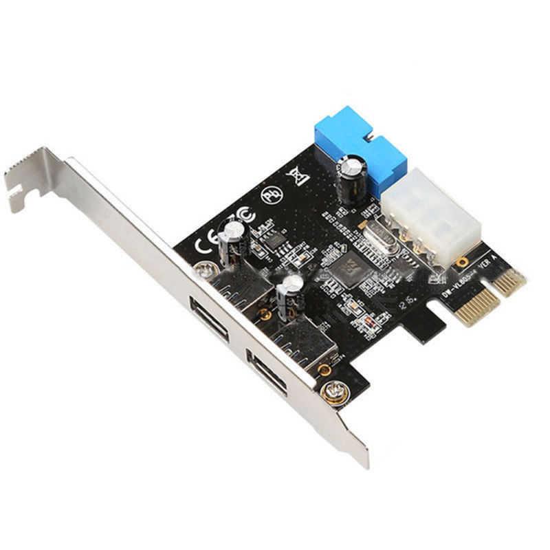 PCI Express con 4 pines y adaptador de tarjeta de control de 20 pines USB 3,0 panel frontal de doble puerto para impresora de cámara digital CD/DVD externo