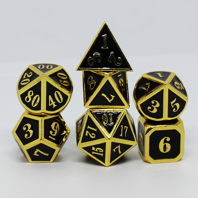 black rpg dice dungeons and dragons table games sales promotion polyhedral metal dices Zinc alloy Numerical combination dice