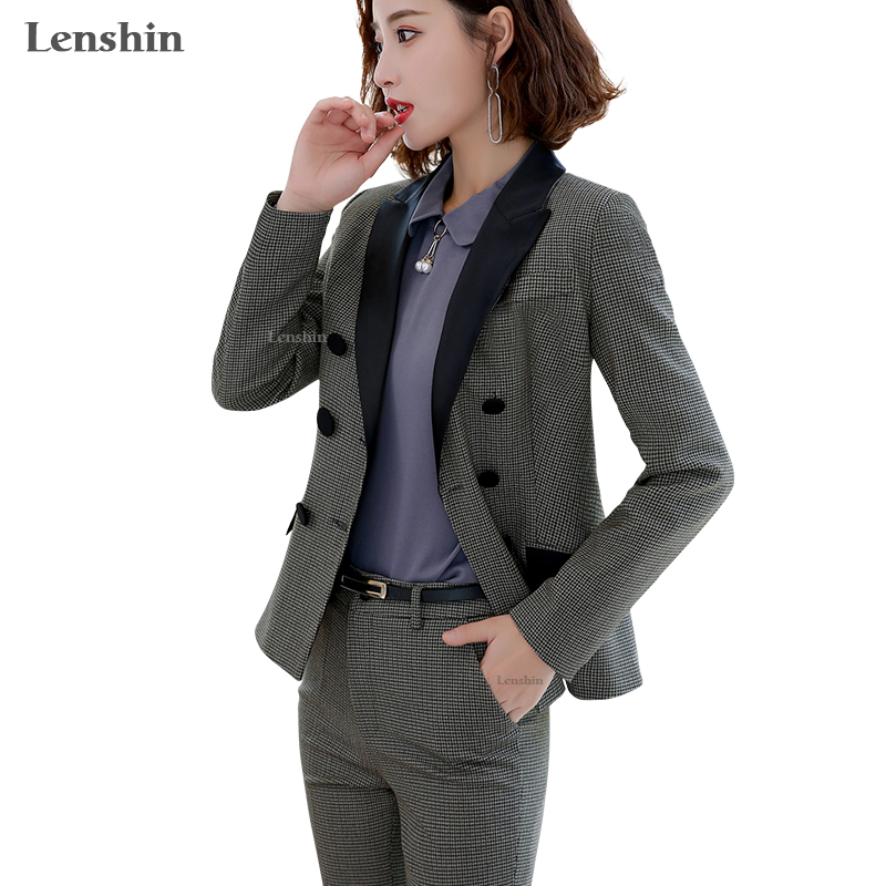 Lenshin High-quality 2 Piece Set Houndstooth Formal Pant Suit Blazer Office Lady Design Women Soft Jacket And Full-Length Pant