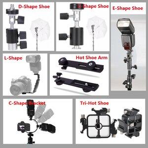 """Image 5 - Soporte de Flash de Metal tipo E soporte Universal para zapata Speedlite para paraguas con soporte de luz de adaptador giratorio de montaje en tornillo de 1/4 """"a 3/8"""""""
