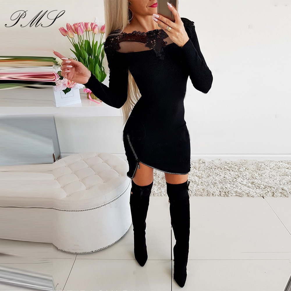 Lace word collar slim slimming hip dress Women Bodycon Dress Patchwork Hollow Out Design Solid Color Autumn Party Mini Dress D30