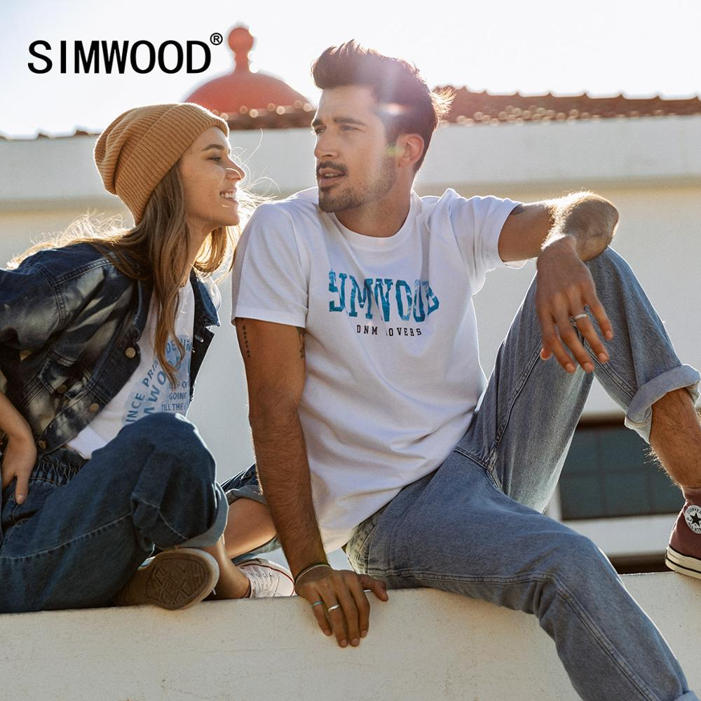 SIMWOOD 2020 Spring Summer New Letter Print T-shirt Men Fashion 100% Cotton Tops T Shirt Plus Size Lover's Clothes SJ120010