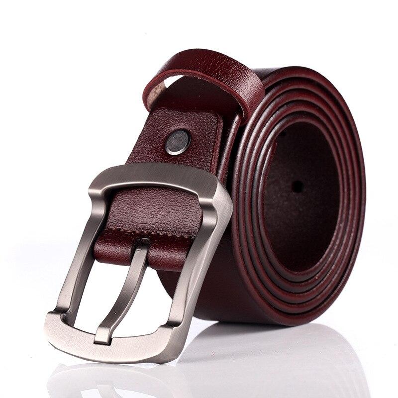 Cinture maschili di lusso in vera pelle di mucca di alta qualità per cintura da Cowboy da uomo classica con fibbia ad ardiglione Vintage di nuova moda