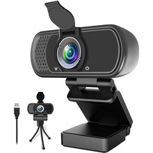 Webcam 1080P Full HD Fixed Focus PC Camera Web Camera with Microphone Cover Tripod Camera for PC Computer and Laptop