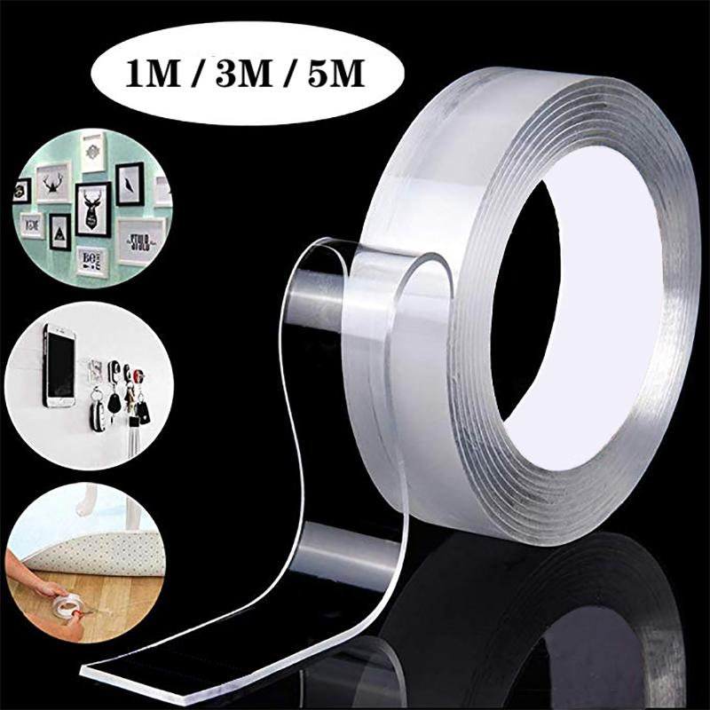 Double Sided Tape Washable Reuse Nano Magic Tape Transparent No Trace Waterproof Adhesive Tape Nano Tape Clear 1m/3m/5m