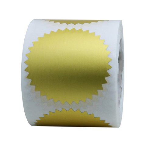 500 pces 2 ouro certificado bolacha selos etiquetas premios legal gravando